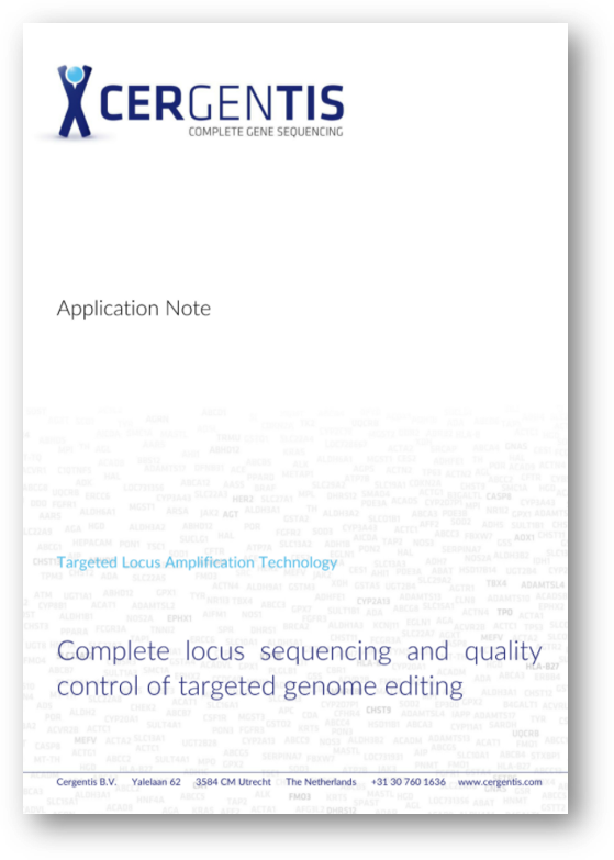 Application note - complete locus sequencing and quality control of targeted genome editing
